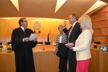 Justice Ron Parraguirre administers oath to Judge David M. Jones to serve as Eighth Judicial District Court jurist.