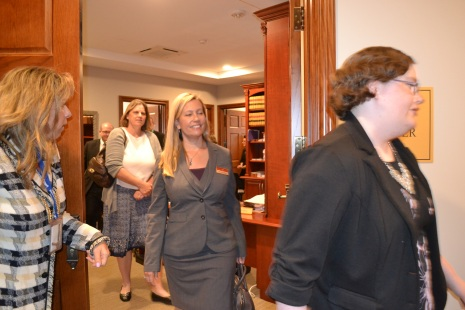 Nevada Appeals Court Judge Abbi Silver give Bench Bar attendees a look at her new chambers.
