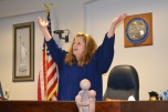 When judges enter the courtroom, all rise as a sign of respect. Judge Jennifer Elliot and the courtroom all rise when participants graduate from the mothers'/fathers' specialty court.