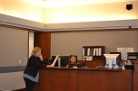 Judge Linda Bell during mock trial with fourth graders from Rundle Elementary.