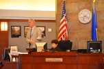 Judge Doug Herndon with a student playing the role of judge in mock trial