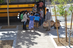 Students head back to Rundle elementary to enjoy lunch after learning a lot.