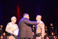 Chief Tom Newsome, Raymundo Enriquez and Lt. Ray Enriquez Sr.