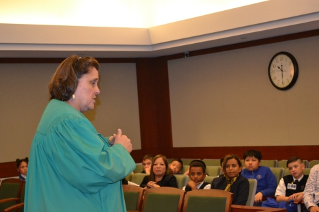 Judge Kathleen Delaney had a fifth grade class from St. Viator's sit in on her calendar.