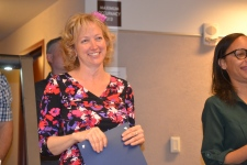 Judge Linda Marie Bell smiles as graduate share success of completing specialty court and getting their life back.