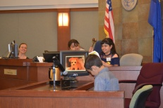 Students played the roles of court clerk and judge as Judge Tierra Jones looked on.