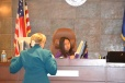 Judge Linda Bell readies a junior judge as she takes the bench.