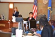 Judge Adrianna Escobar works with students from Hickey Elementary to ensure their mock trial goes smoothly.