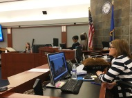 Judge Jennifer Togliatti looks on as students from Las Vegas Day School try Goldilocks.