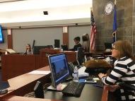 Judge Jennifer Togliatti looks on as students from Las Vegas Day School try Goldilocks.