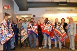 Veterans wrapped with quilts specially made by the Quilts of Valor non-profit organization to give them comfort and remind them that their service is appreciated.
