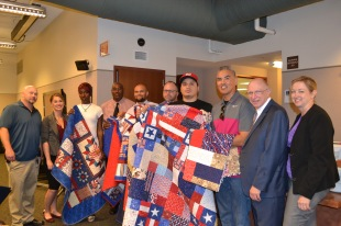 Each of these veters received a Quilt of Valor from the nonprofit organization of the same name.