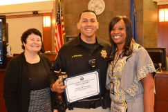 Chief Judge Elizabeth Gonzalez, Judicial Marshal of the Year Brian Hernandez and Judge Tierra Jones