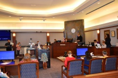 Judge Eric Johnson kept the attention of a fourth grade classes from Grant M. Bowler Elementary School in Logandale, NV.