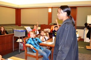 Judge Tierra Jones kept the attention of a fourth grade classes from Grant M. Bowler Elementary School in Logandale, NV.