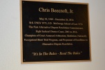 On Nov. 15, the State Bar of Nevada ADR section unveiled a plaque to commemorate the work of Chris Beecroft outside of the discovery courtroom on the fifth floor of the Regional Justice Center.Chris passed away on Dec. 26, 2016. In addition to his work in Discovery, Commissioner Beecroft oversaw the Alternative Dispute Resolution and the Short Trial programs.