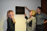 Melissa Beecroft, Jonathan Beecroft, and Christine Beecroft expressed their gratitude for a plaque dedicated to Commissioner Chris Beecroft who passed away in 2016 after a long and productive career with the court.