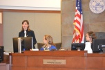 Judge Adriana Escobar guides students through mock trial.
