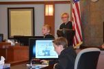 Judge Kerry Earley guides students through a mock trial.
