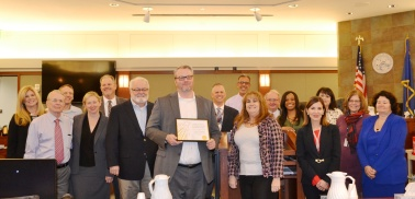Nevada Eighth Judicial District Court judges at civil judges meeting with pro bono volunteer of month Trevor Hatfield.